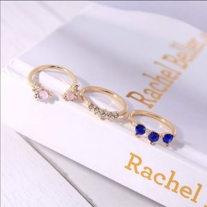 Set of Three Gold and Colored Stone Stacking Rings